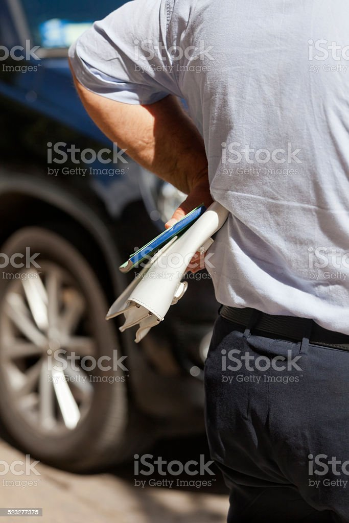 Getting a Parking Ticket stock photo