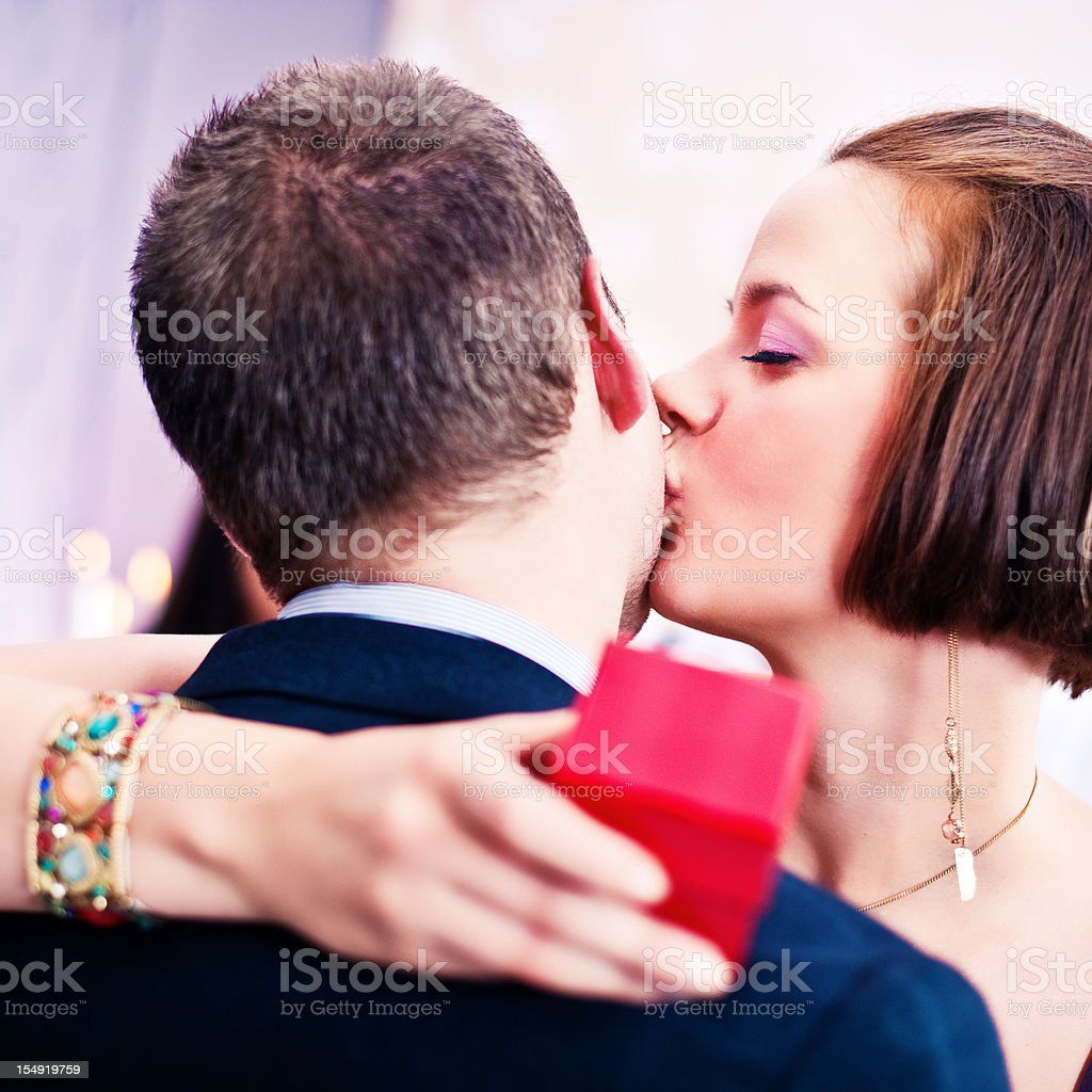Getting a valentines gift royalty-free stock photo