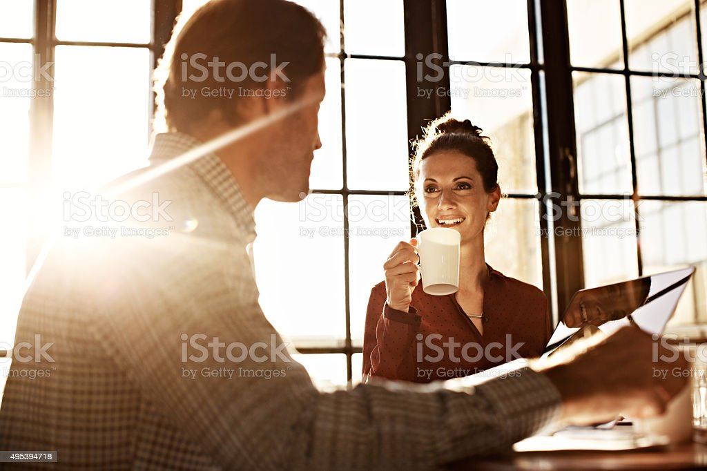 Getting an early start to the day stock photo