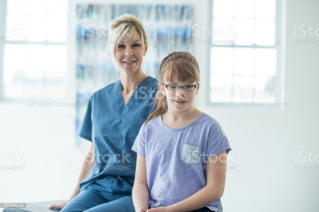 Getting an Eye Exam at the Doctor's Office stock photo