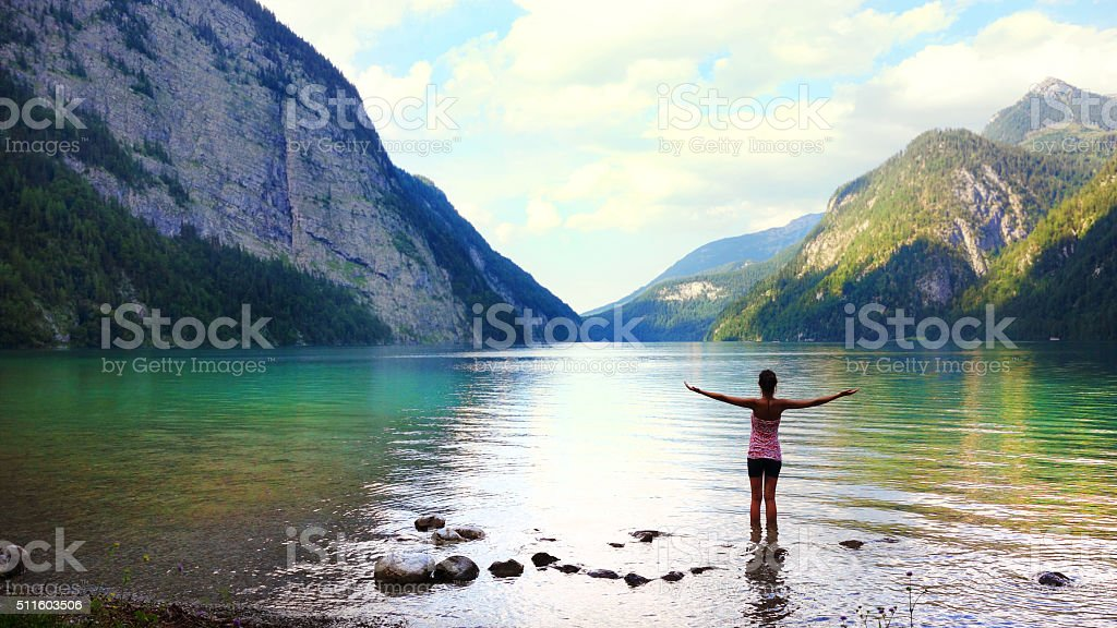 Getting away from it all at Königssee, Germany stock photo