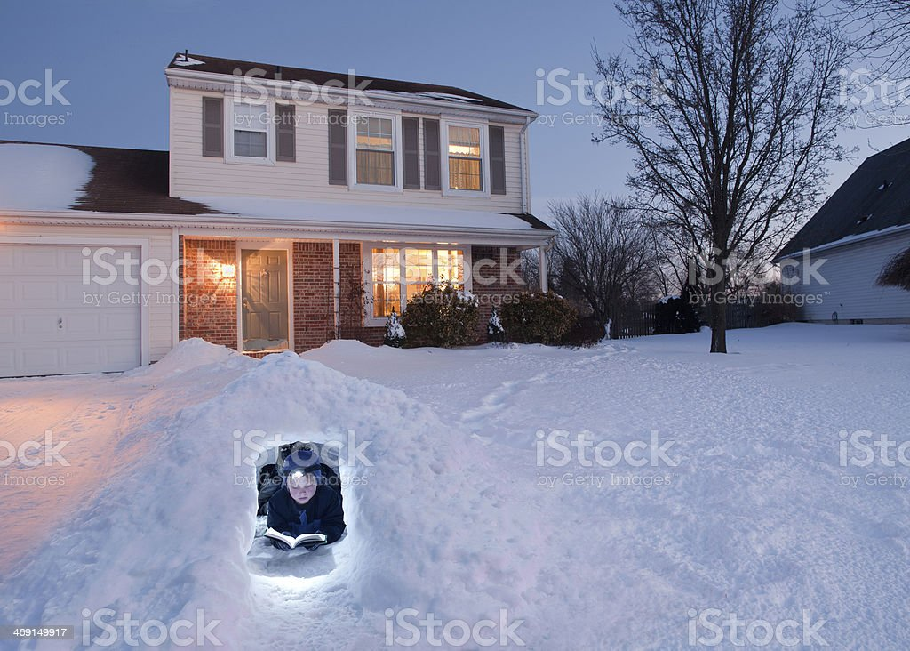 Getting Away from it All, in a Winter Igloo stock photo
