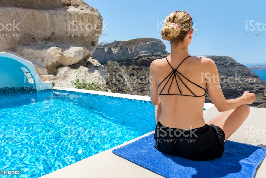Getting away with meditation stock photo