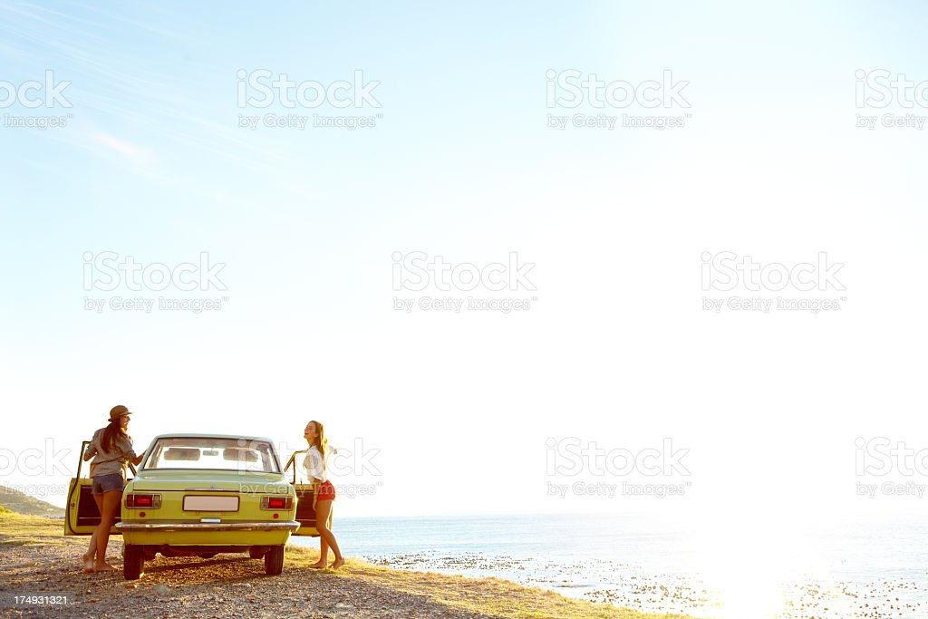 Getting back to their roadtrip royalty-free stock photo