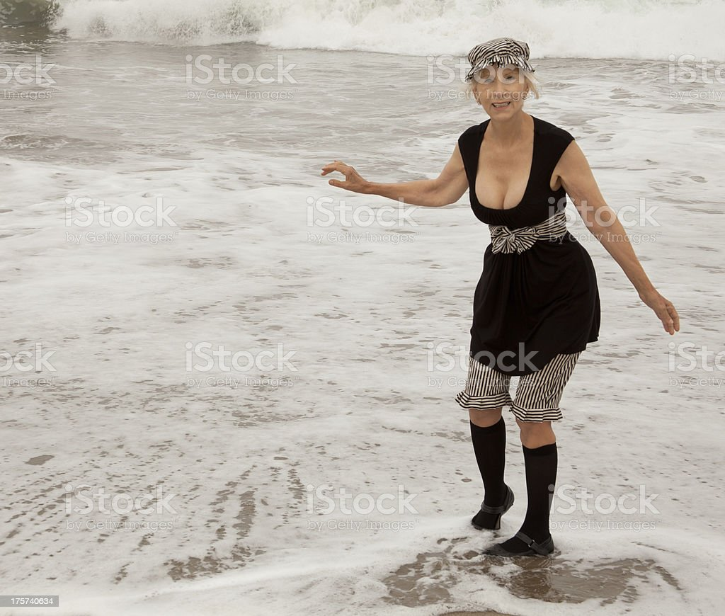 Getting Both Feet Wet royalty-free stock photo
