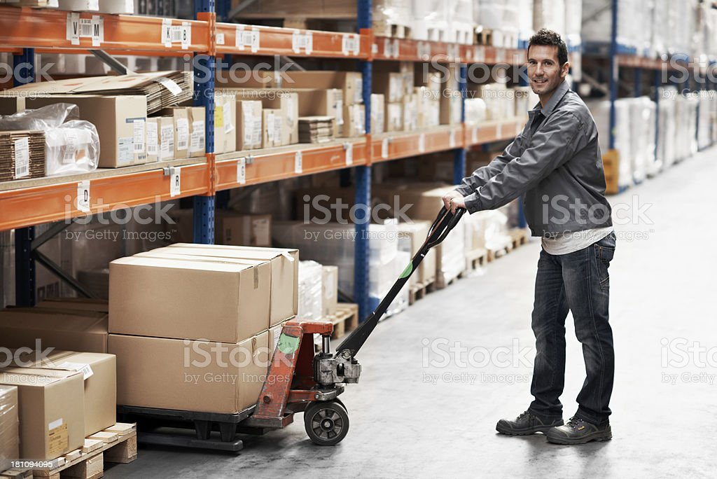 Getting boxes ready for the next delivery stock photo