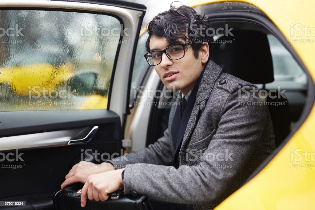 Getting by taxi stock photo
