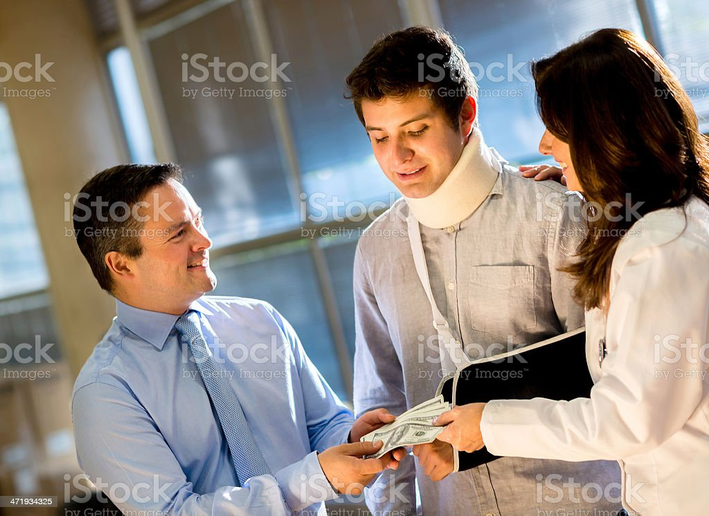 Getting compensation from medical insurance royalty-free stock photo
