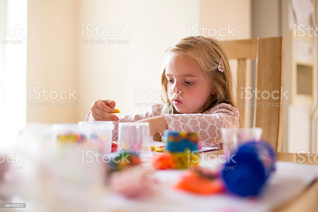 Getting Creative With Play Dough stock photo