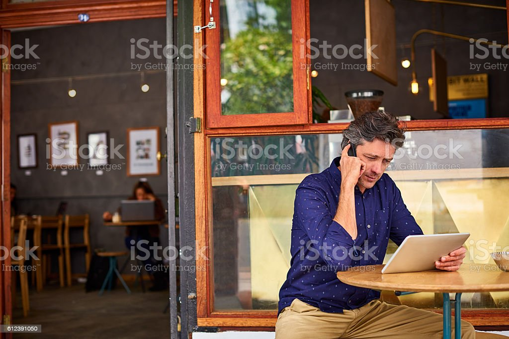 Getting down to cafe business stock photo