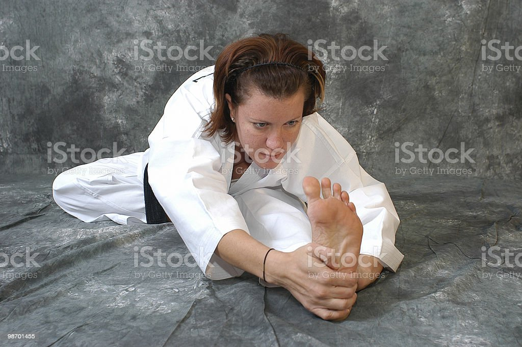 Getting down to stretch royalty-free stock photo