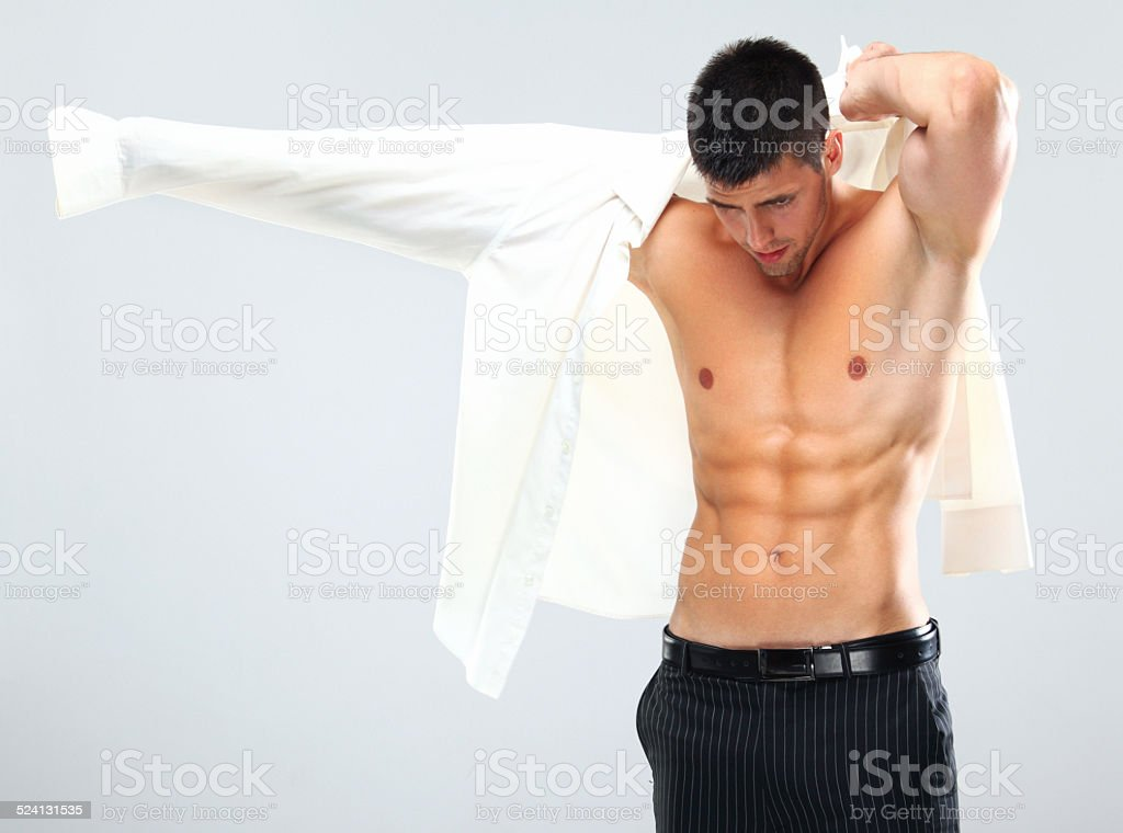 Getting dressed. stock photo