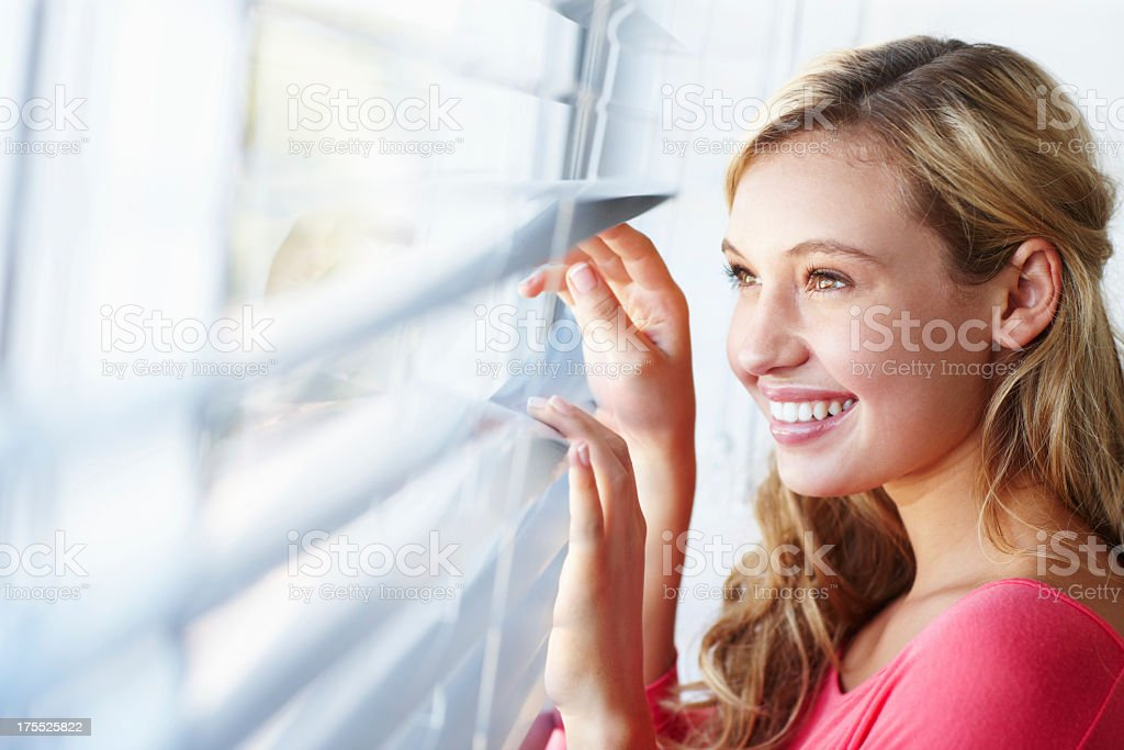 Getting excited for the day ahead! stock photo