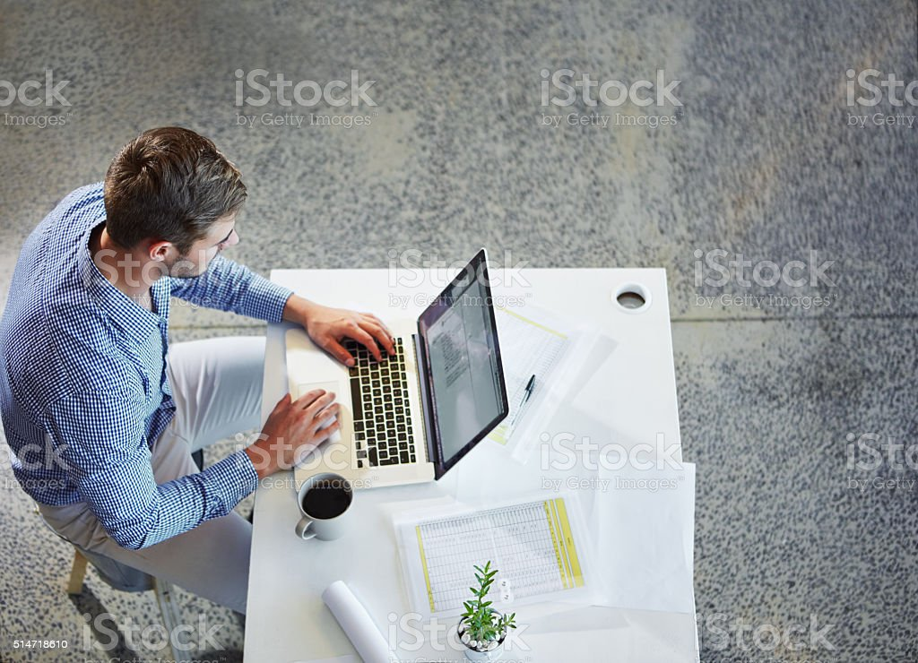 Getting exposure for his business using a professional online profile stock photo