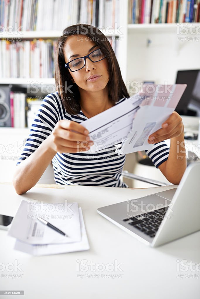 Getting finances in order stock photo