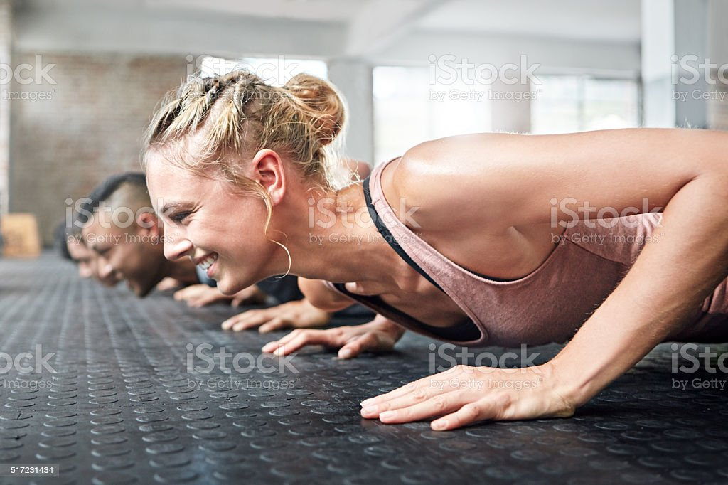Getting fit and having fun stock photo