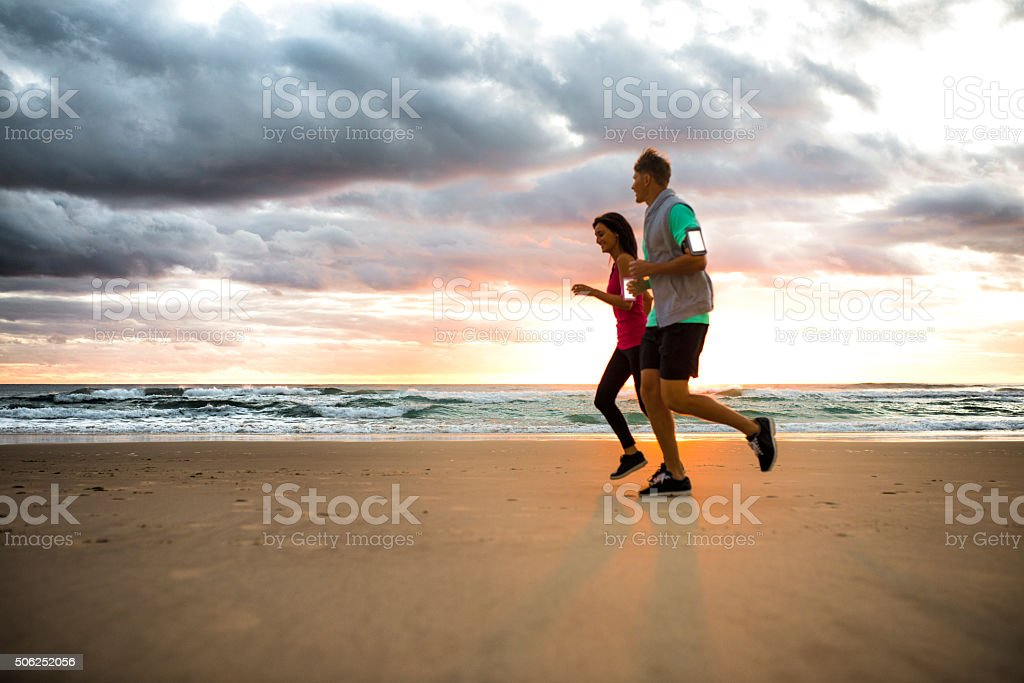 Getting fit in the morning stock photo