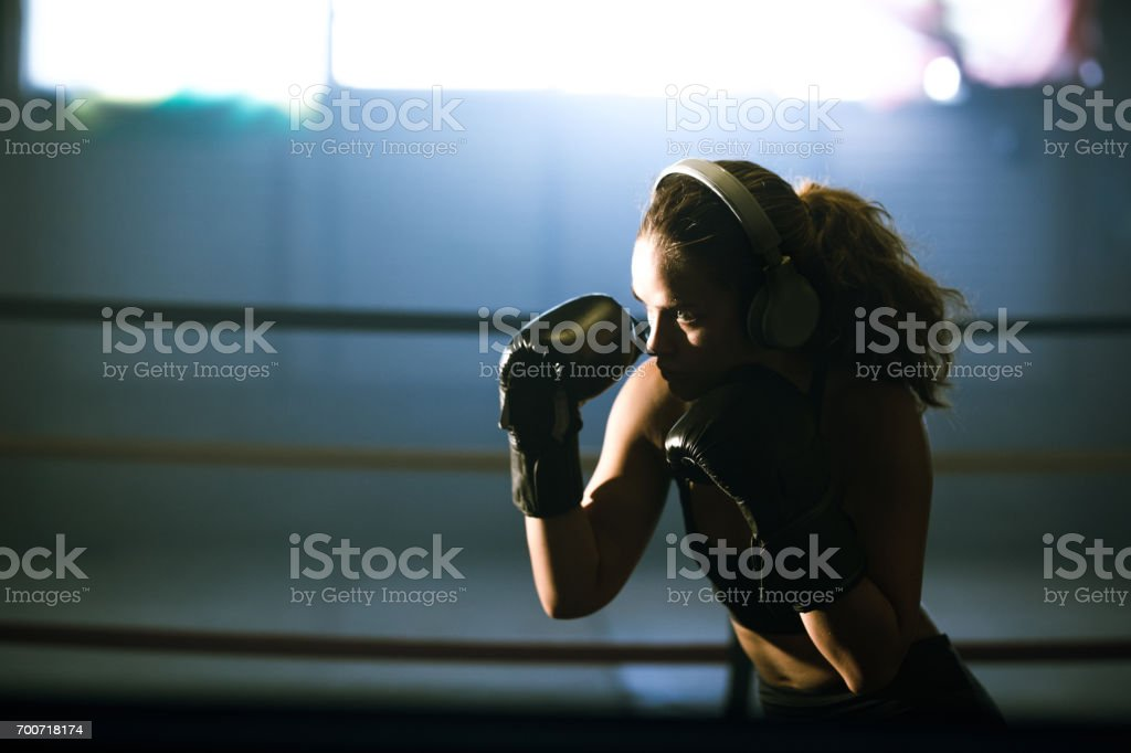 Getting fit with boxing stock photo