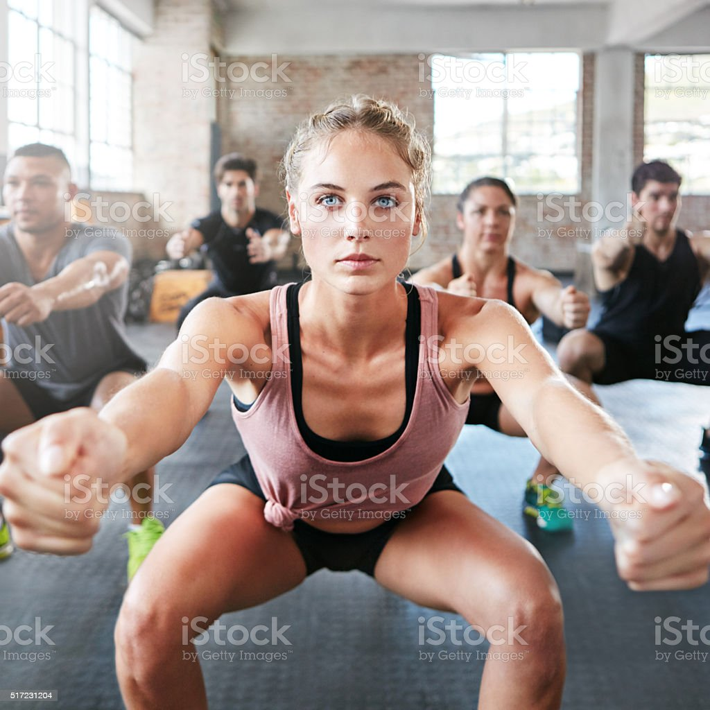 Getting focused on her fitness stock photo