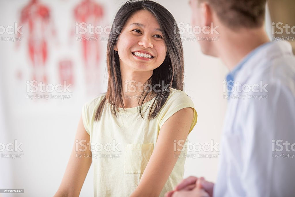 Getting Good News From the Doctor stock photo
