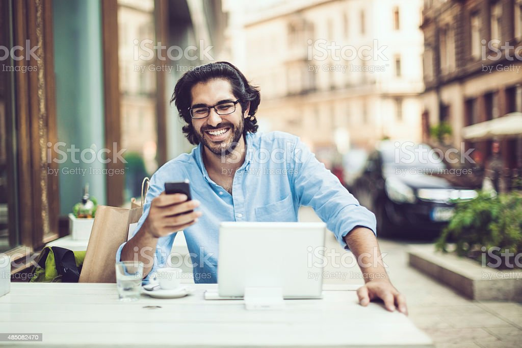 Getting good news stock photo