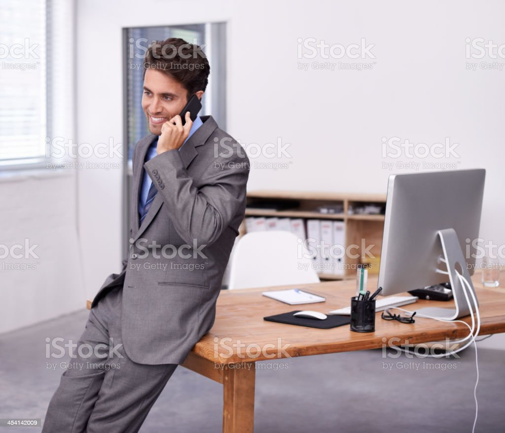 Getting great business news stock photo