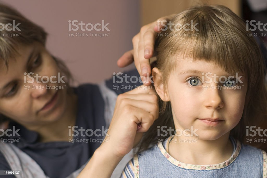 Getting hair done royalty-free stock photo