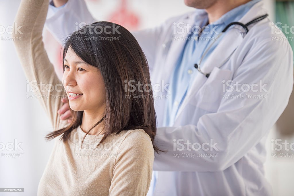 Getting Help with a Shoulder Injury stock photo
