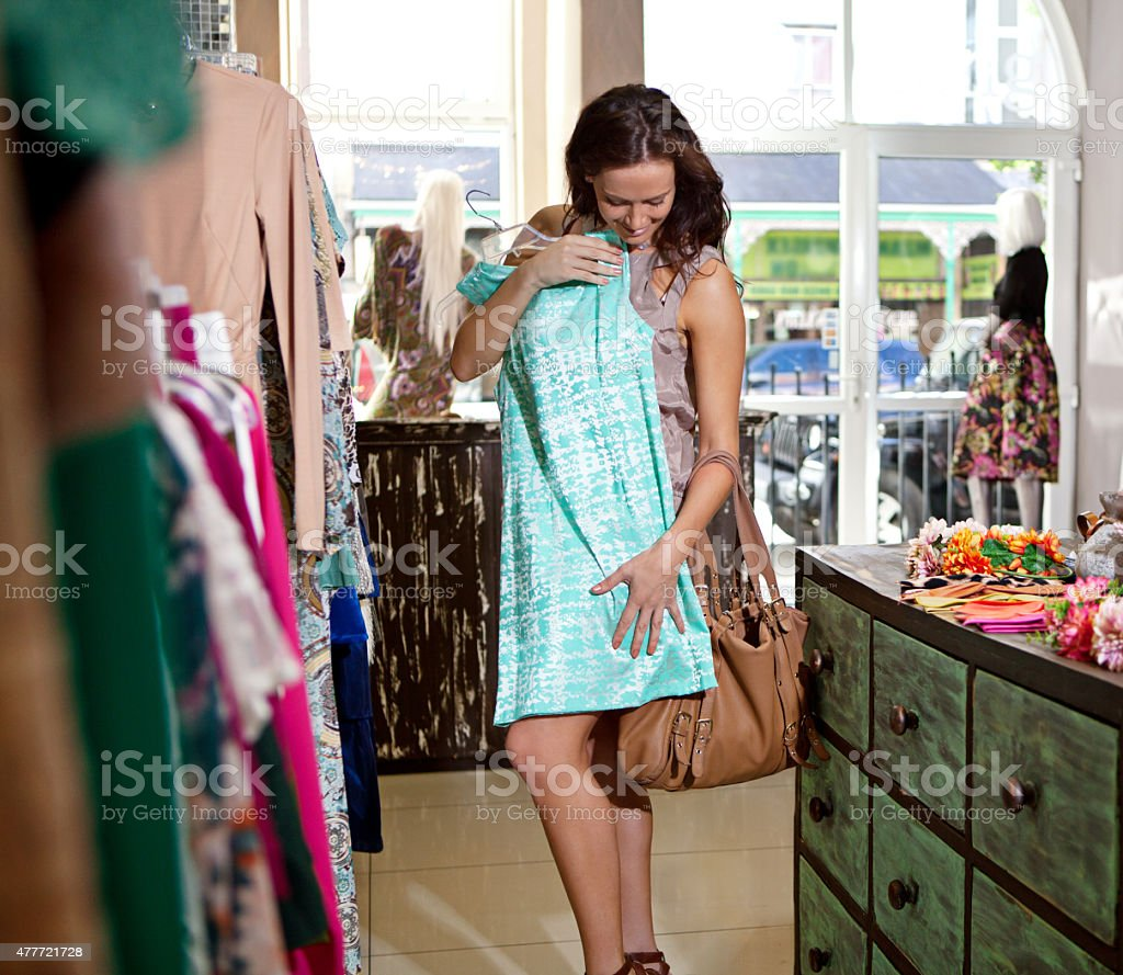 Getting her shopping fix stock photo