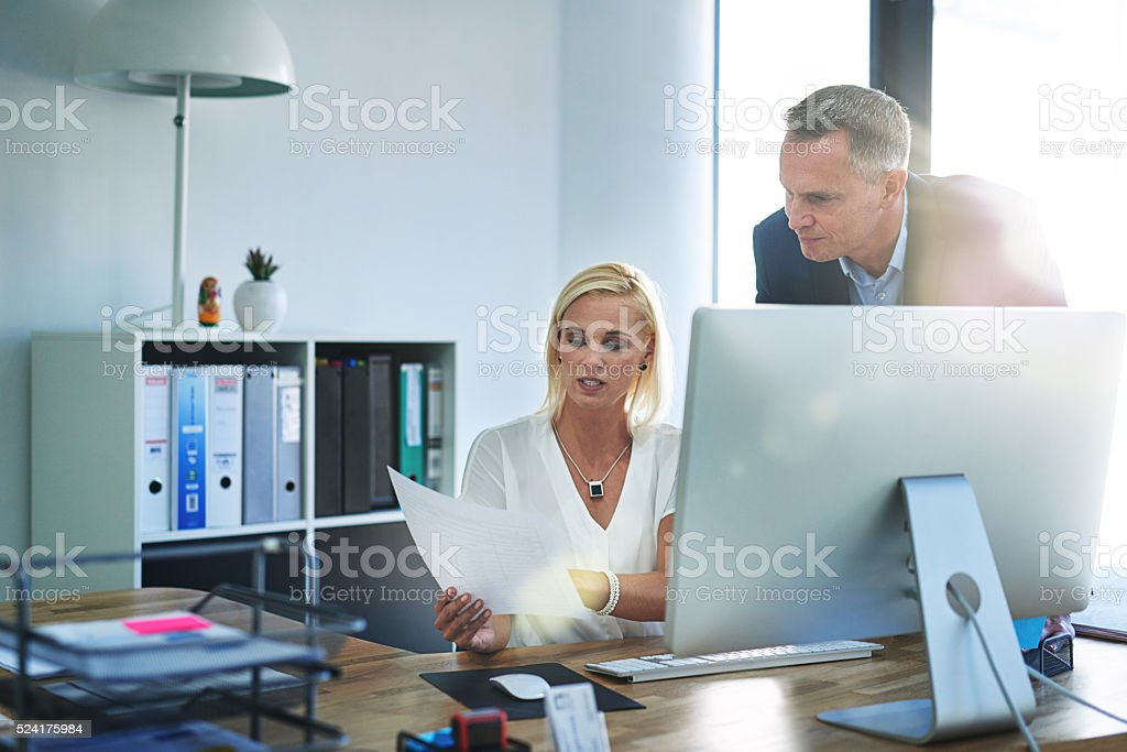 Getting his opinion stock photo