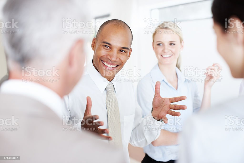 Getting his point across with a smile royalty-free stock photo