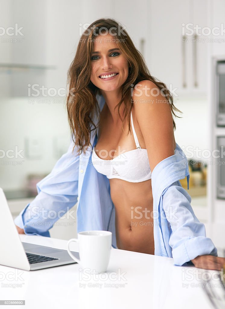 Getting in some morning browsing stock photo