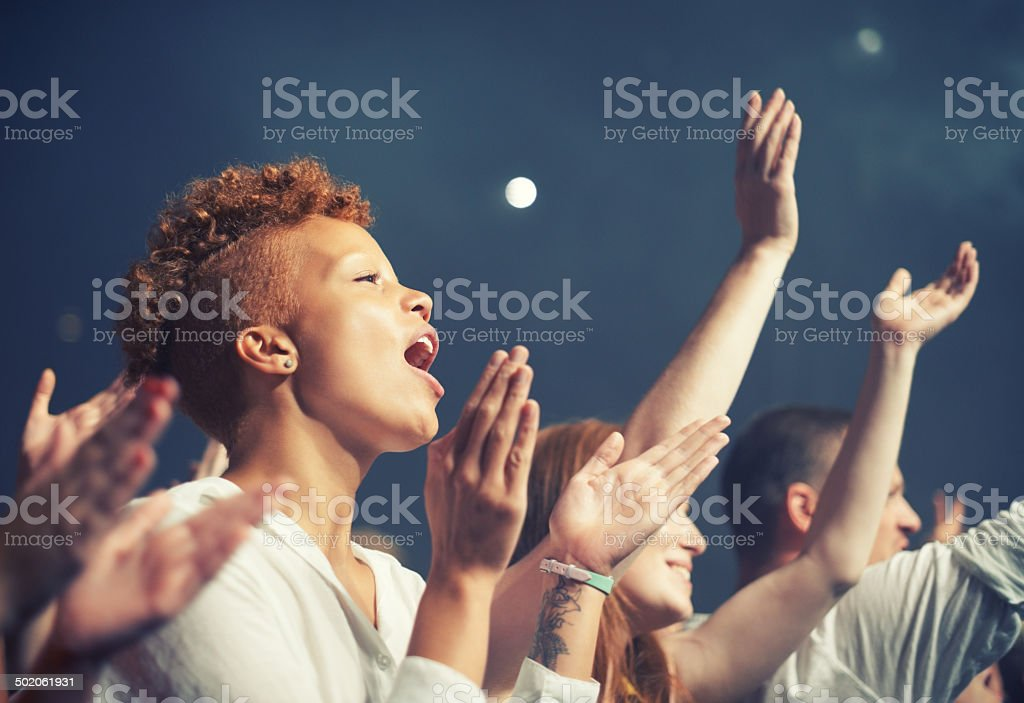 Getting in tune with the music stock photo
