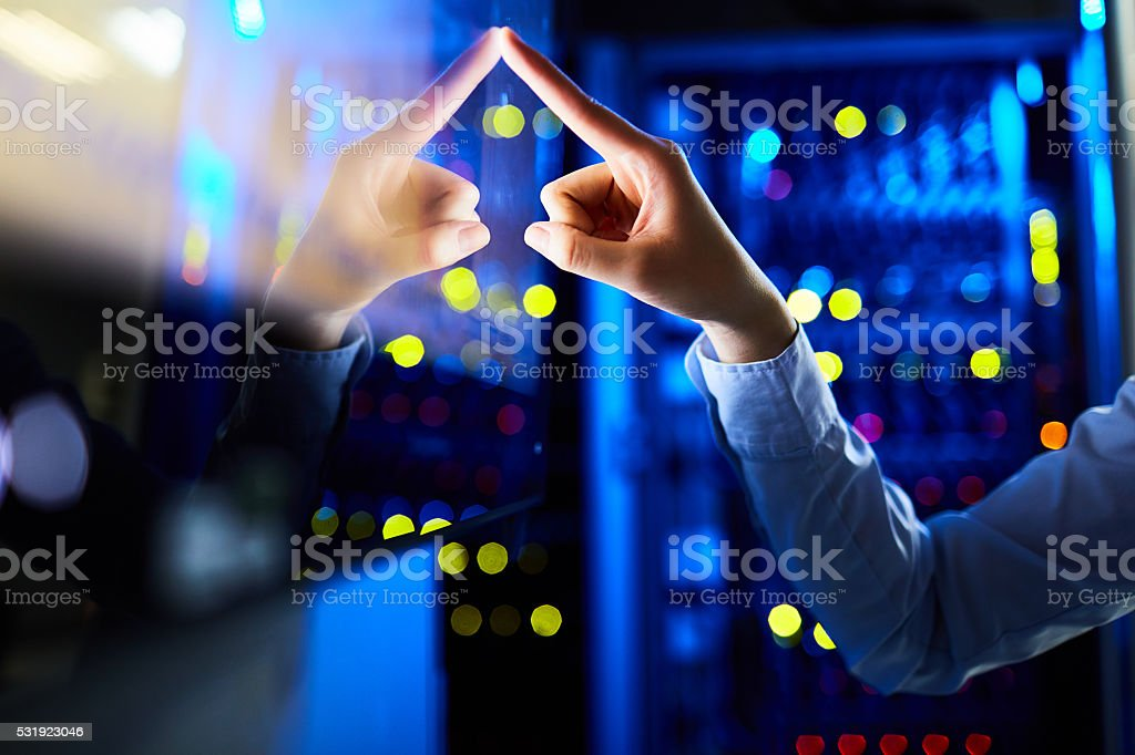 Getting information via touchscreen stock photo