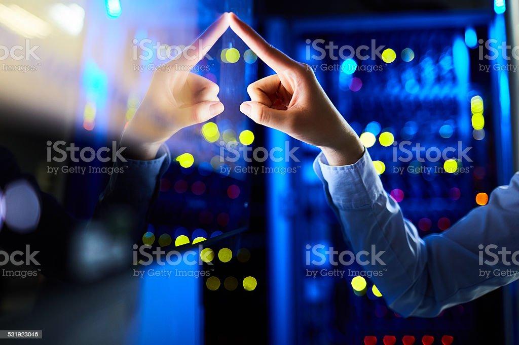 Getting information via touchscreen stock photo