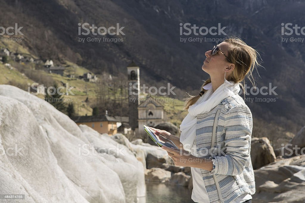 Getting inspiration from digital tablet royalty-free stock photo
