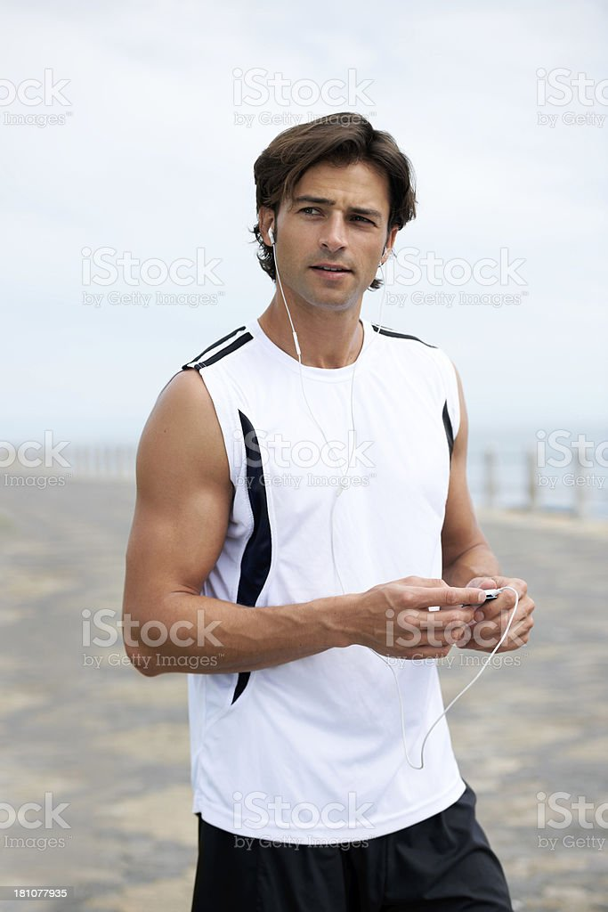 Getting into the rhythm of his workout royalty-free stock photo