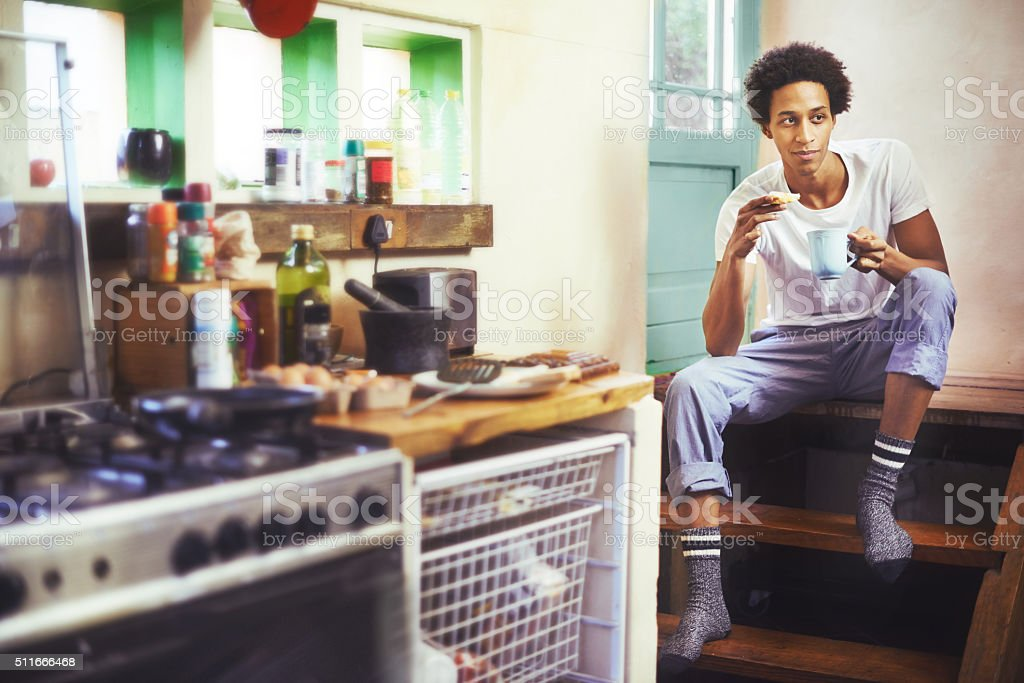 Getting into weekend mode with a leisurely breakfast stock photo