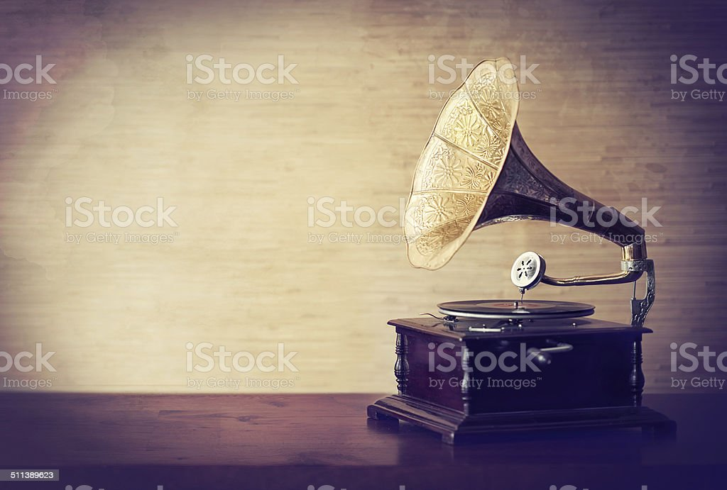 Getting lost in the music of old stock photo