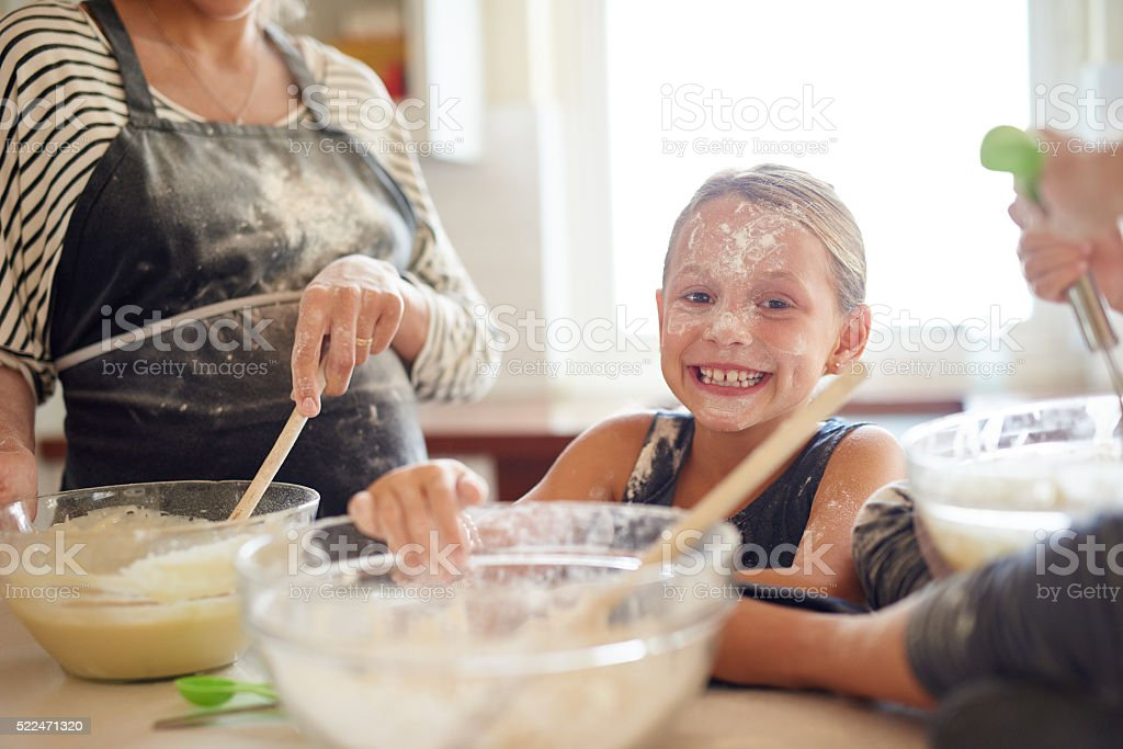 Getting messy is half the fun! stock photo