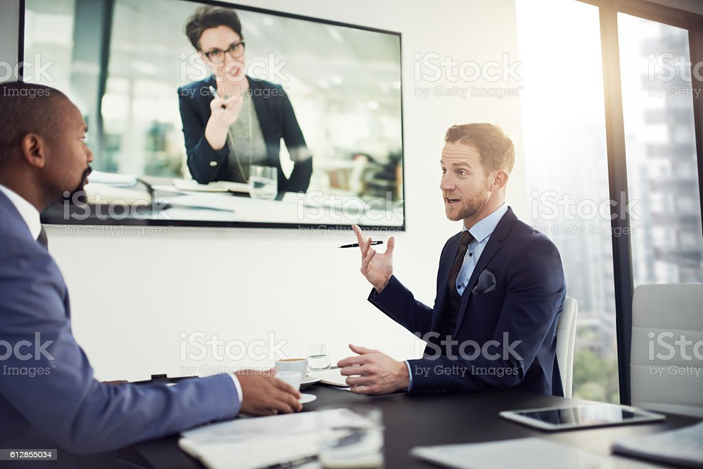 Getting more out of inter office meetings with modern technology stock photo