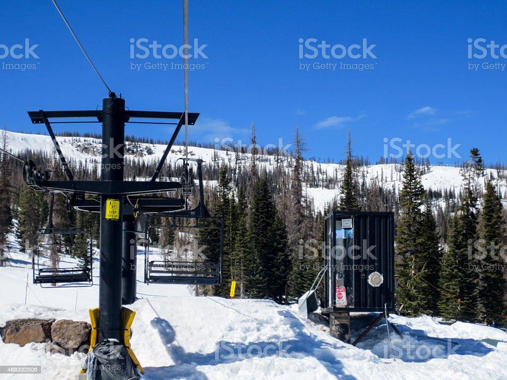 Getting off the ski lift stock photo