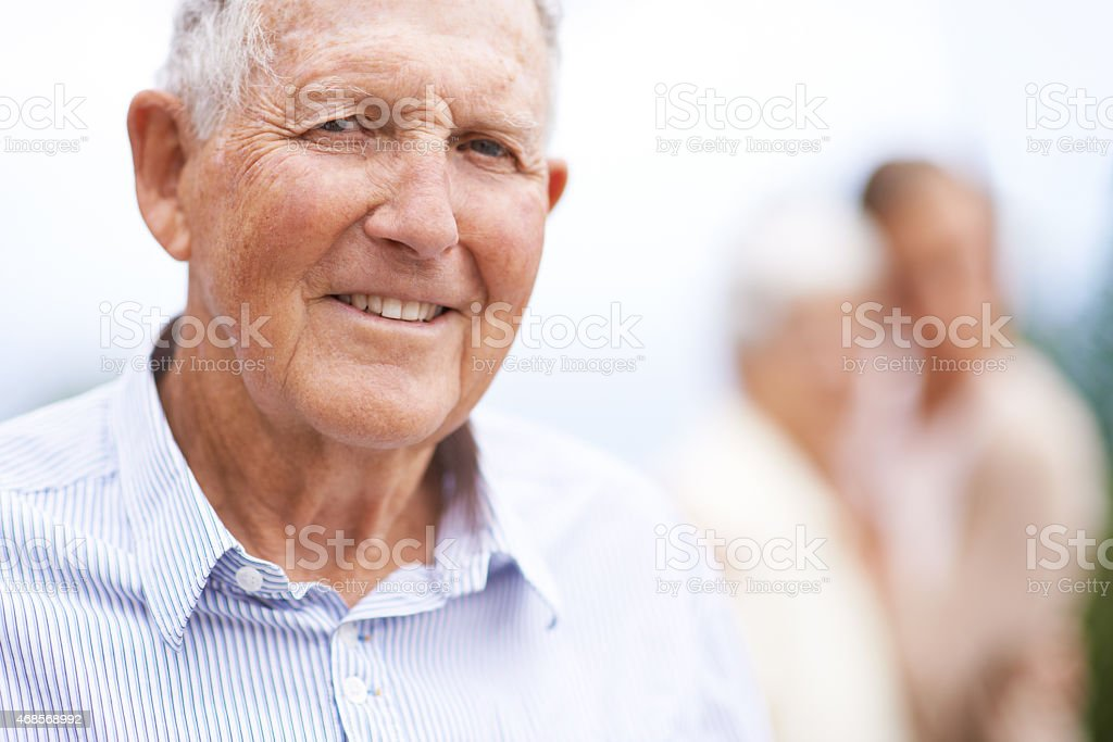 Getting older...but also happier stock photo