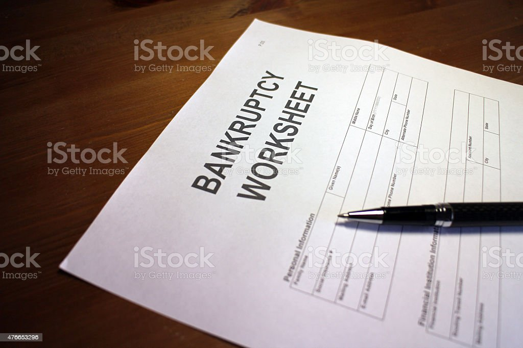 Getting out of Bankruptcy stock photo