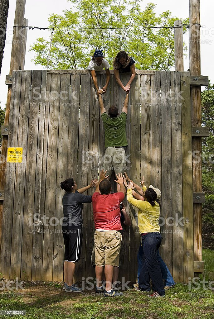 Getting over the Wall royalty-free stock photo
