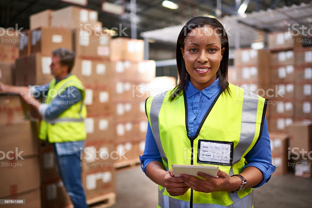 Getting pallets moving stock photo