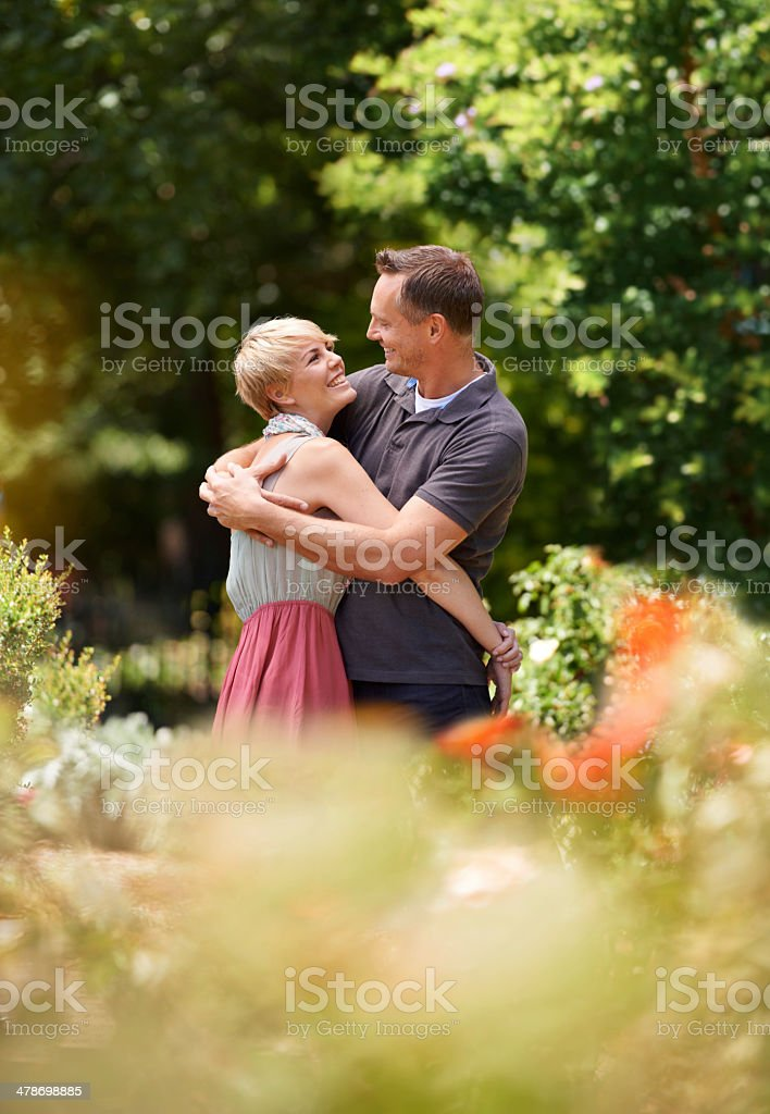 Getting passionate in the park royalty-free stock photo