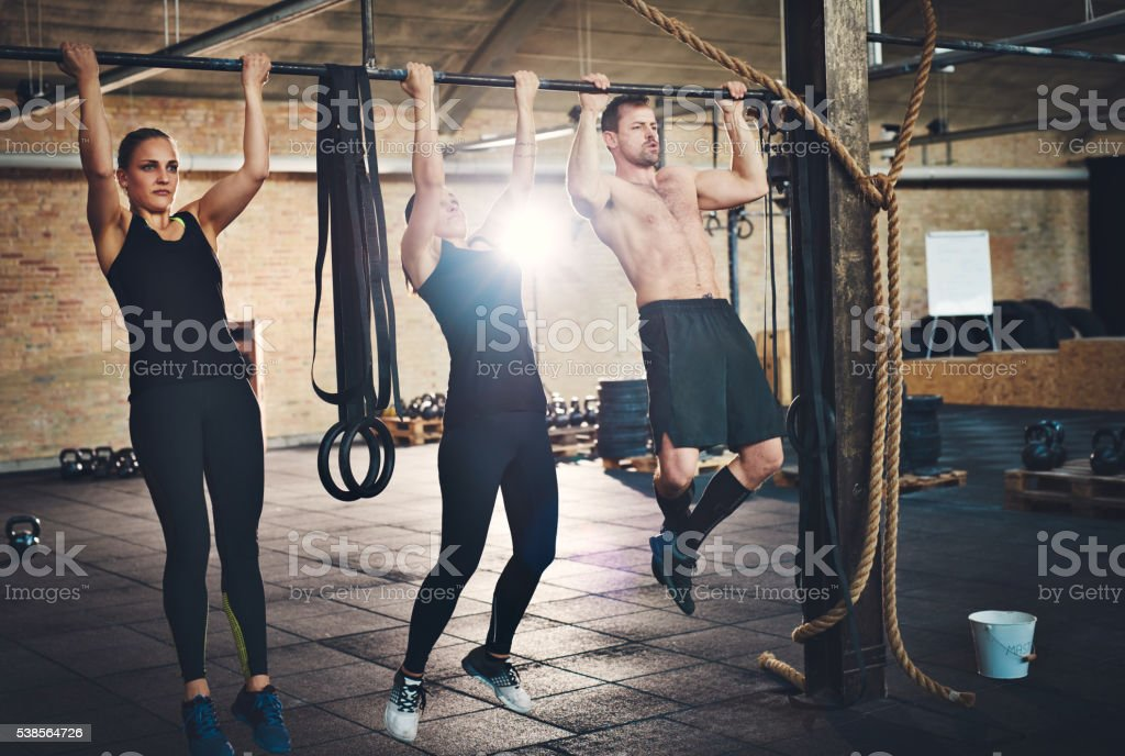 Getting physical at the gym stock photo