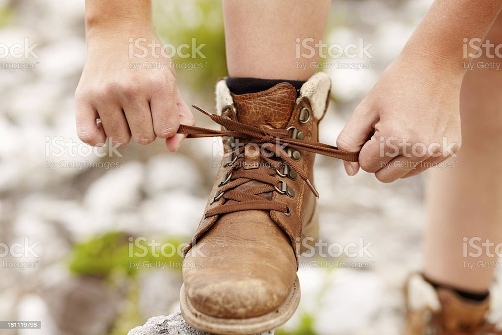 Getting ready for a hike royalty-free stock photo