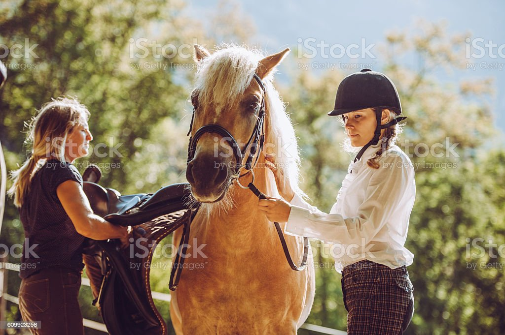 Getting Ready for a Horse Ride Outdoors stock photo